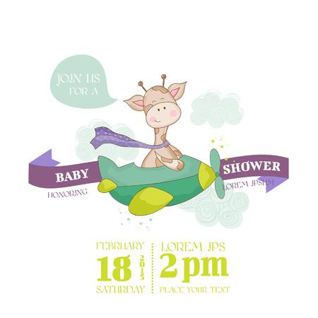 Tarjeta de bienvenida al bebé de la jirafa - con lugar para el texto Ilustración de vector