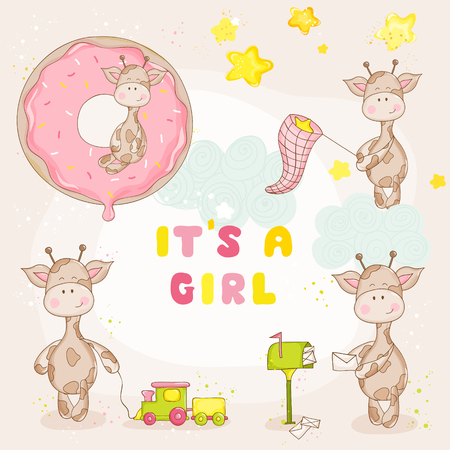 baby birth: Baby Girl Giraffe Set - Baby Shower or Arrival Card