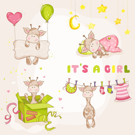 welcome: Baby Girl Giraffe Set - Baby Shower or Arrival Card