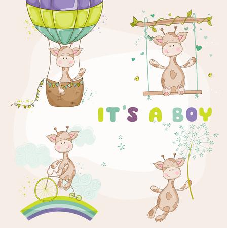 Baby-Giraffe Set - Baby-Dusche oder Ankunfts-Karte Standard-Bild - 53447069