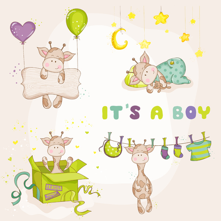 baby boy announcement: Baby Boy Giraffe Set - Baby Shower or Arrival Card - in vector Illustration