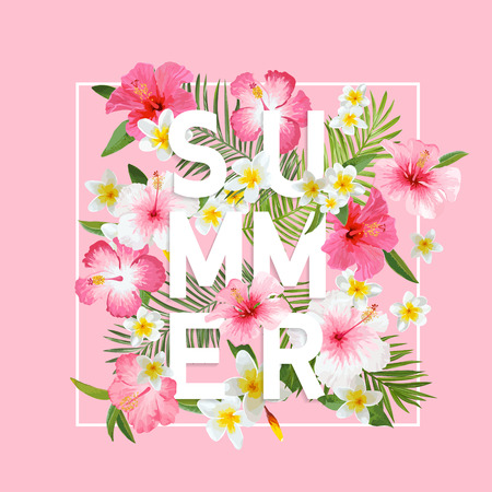 Tropical Flowers and Leaves Background. Summer Design. Vector. T-shirt Fashion Graphic. Exotic Background.  イラスト・ベクター素材