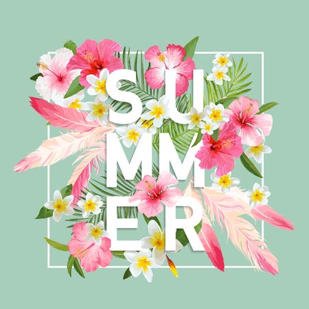 Tropical Flowers and Leaves Background. Summer Design. Vector. T-shirt Fashion Graphic. Exotic Background. Иллюстрация