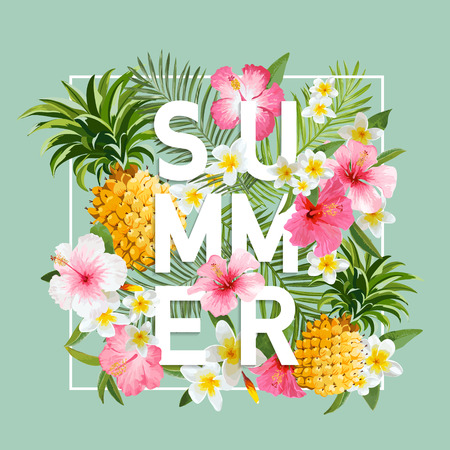 Tropical Flowers and Leaves Background. Summer Design. Vector. T-shirt Fashion Graphic. Exotic Background. Ilustracja