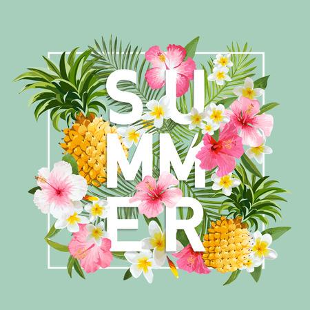 de zomer: Tropische bloemen en bladeren achtergrond. Summer Design. Vector. T-shirt Fashion Graphic. Exotische Achtergrond.