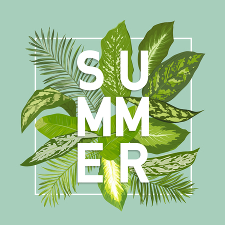 Summer Design. Tropical Leaves Background. Vector. T-shirt Fashion Graphic. Exotic Background.