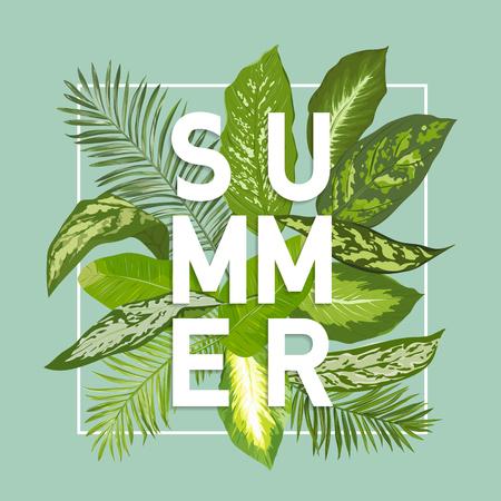 Summer Design. Tropische Bladeren Achtergrond. Vector. T-shirt Fashion Graphic. Exotische Achtergrond.