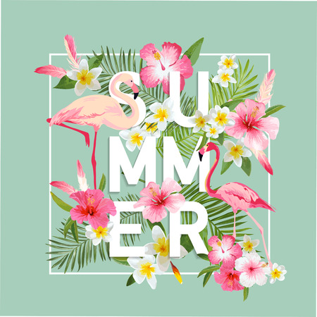 fashion illustration: Tropical Flowers Background. Summer Design. Vector. Flamingo Background. T-shirt Fashion Graphic. Exotic Background.