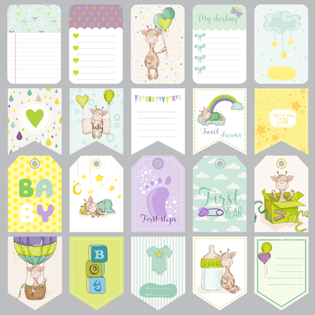 baby scrapbook: Baby Boy Tags. Baby Banners. Scrapbook Labels. Cute Cards. Vector Design Elements.
