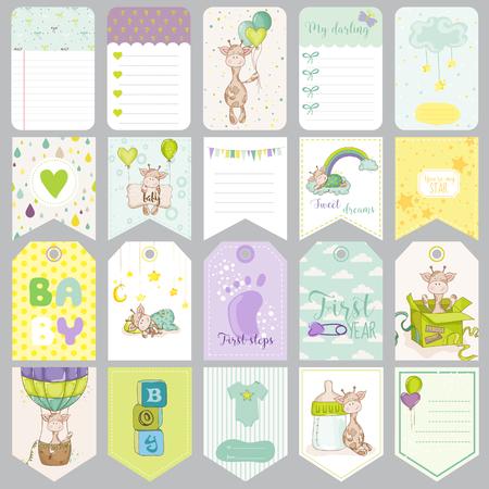 niño: Etiquetas del bebé. Banderas del bebé. Las etiquetas de Bloc de notas. Tarjetas lindas. Vector de elementos de diseño. Vectores