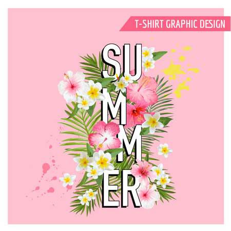 fashion background: Tropical Flowers and Leaves Background. Summer Design. Vector. T-shirt Fashion Graphic.