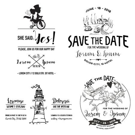 caligraphic: Vector Wedding Vintage Set. Save the Date. Wedding Card. Bridal Shower. Wedding Invitation. RSVP