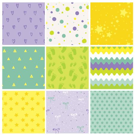 9 modèles de bébé sans couture. Texture de bébé. Fond d'écran. Contexte Vectoriel. Modèles géométriques. Vecteurs