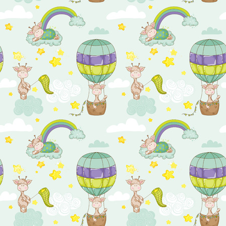 mother and baby: Baby Giraffe Background. Seamless Pattern. Vector Background. Illustration