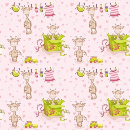 Antecedentes de la jirafa del bebé. Patrón sin fisuras. Antecedentes del vector. Ilustración de vector
