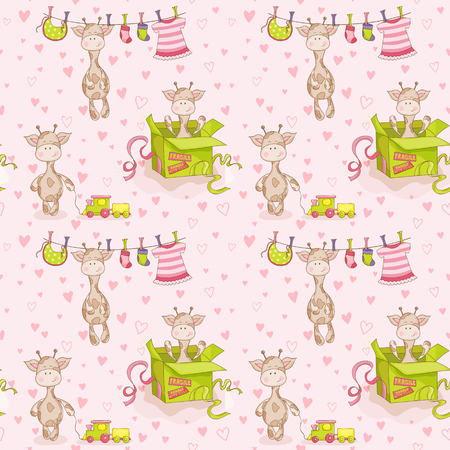 mother and baby son: Baby Giraffe Background. Seamless Pattern. Vector Background. Illustration
