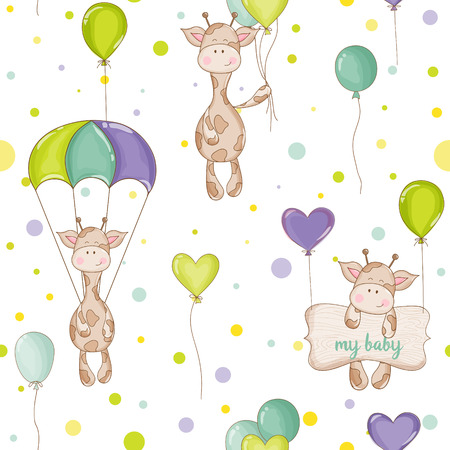 Baby Giraffe Background. Seamless Pattern. Vector Background. Çizim