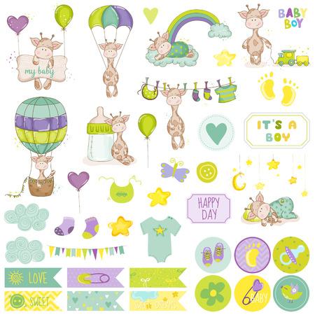 Ajuste del bebé de la jirafa del libro de recuerdos. Vector de álbum de recortes. Elementos decorativos. Etiquetas bebé. Las etiquetas para bebés. Pegatinas. Notas.