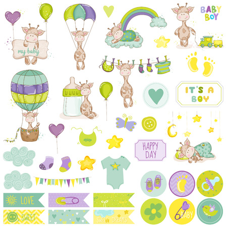 arrival: Baby Boy Giraffe Scrapbook Set. Vector Scrapbooking. Decorative Elements. Baby Tags. Baby Labels. Stickers. Notes.