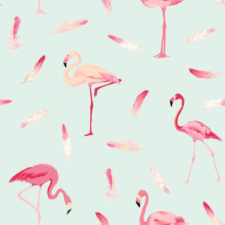 Flamingo Bird Background. Flamingo Feather Background. Retro Seamless Pattern. Vector Texture. 일러스트
