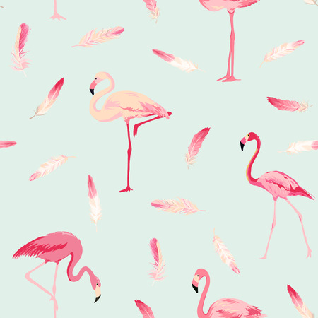 Flamingo Bird Background. Flamingo Feather Background. Retro Seamless Pattern. Vector Texture. Çizim