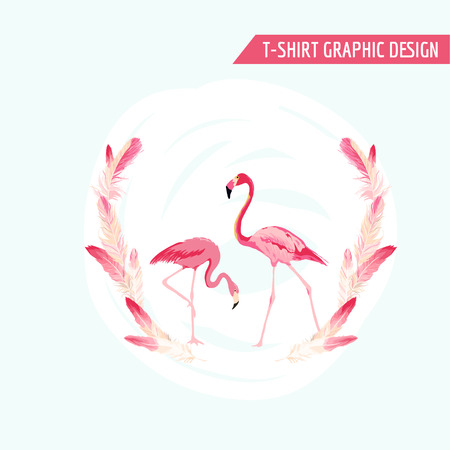 fashion design: Tropical Graphic Design. Flamingo Birds. Tropical Background. T-shirt Design. Fashion print. Vector Background. Tropical Summer Card.