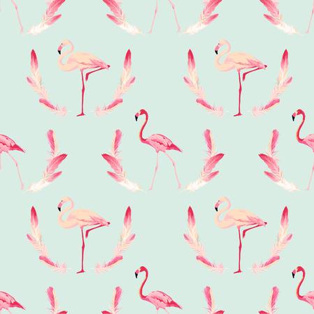 Flamingo Bird Background. Retro Seamless Pattern. Vector Feather Background