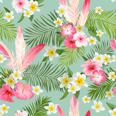 Tropical Flowers Background. Vintage Seamless Pattern. Vector Pattern
