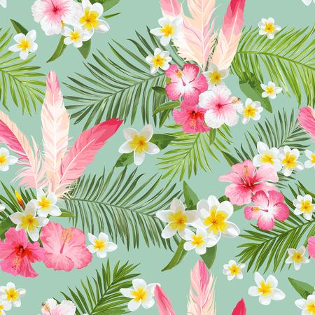 Tle Tropikalnych Kwiatów. Vintage Bez szwu Wzorek. Wzór Wektorowy Ilustracja