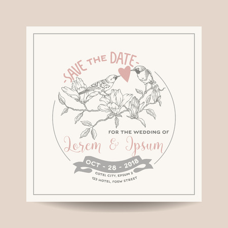 caligraphic: Wedding Invitation Card. Save the Date. Wedding Card. Marine Anchor Theme. Vector Invitation. Bridal Shower.