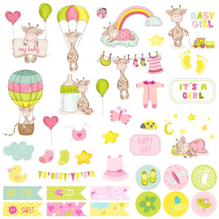 Ajuste del bebé de la jirafa del libro de recuerdos. Vector de álbum de recortes. Elementos decorativos. Etiquetas bebé. Las etiquetas para bebés. Pegatinas. Notas. Ilustración de vector