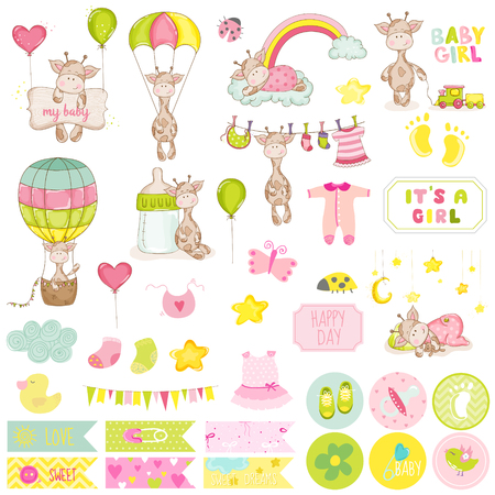 baby stickers: Baby Boy Giraffe Scrapbook Set. Vector Scrapbooking. Decorative Elements. Baby Tags. Baby Labels. Stickers. Notes.