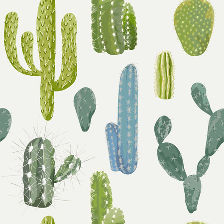 Vector Cactus Background. Seamless Pattern. Exotic Plant. Tropical Background.