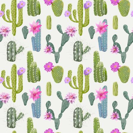 벡터 선인장 배경입니다. 원활한 패턴입니다. 이국적인 식물. 열 대 배경입니다.