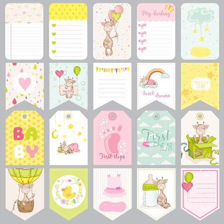 Neonato Tag. Bambino Banner. Etichette album. Carte di carino. Elementi di disegno vettoriale.