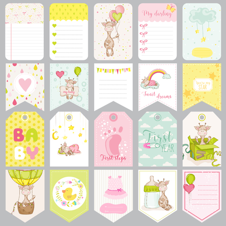 cute girl: Baby Boy Tags. Baby Banners. Scrapbook Labels. Cute Cards. Vector Design Elements.