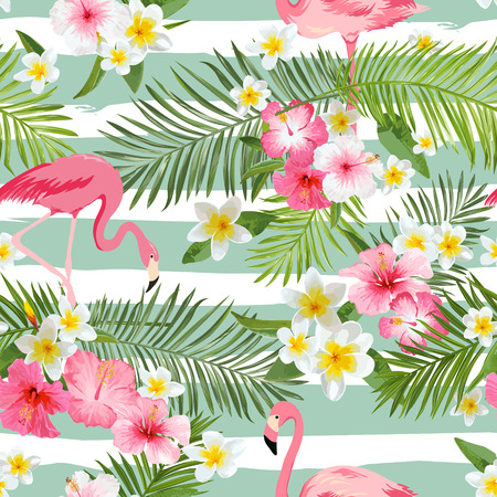 decoration: Flamingo Background. Tropical Flowers Background. Vintage Seamless Pattern. Vector Background.