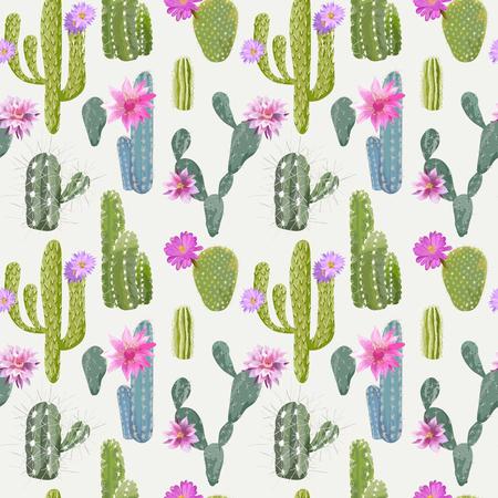 サボテンのベクトルの背景。シームレス パターン。エキゾチックな植物。熱帯の背景。  イラスト・ベクター素材