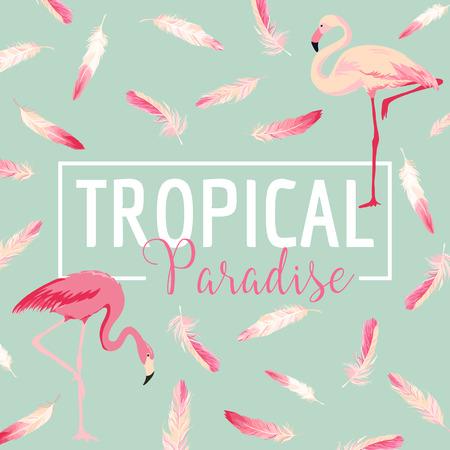 Tropical Bird. Flamingo Background. Summer Design. Vector. T-shirt Fashion Graphic. Exotic Background.