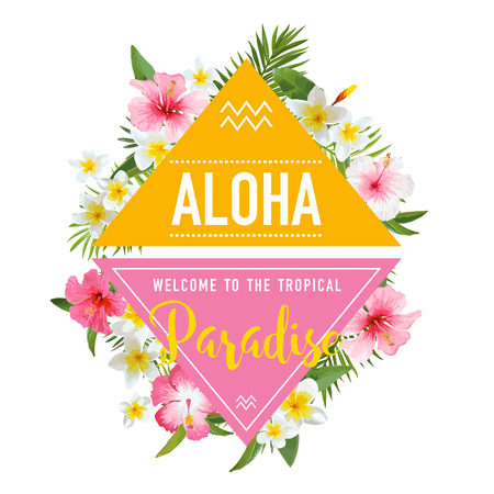 Tropical Flowers and Leaves Background. Summer Design. Vector. T-shirt Fashion Graphic. Exotic Background. Illustration