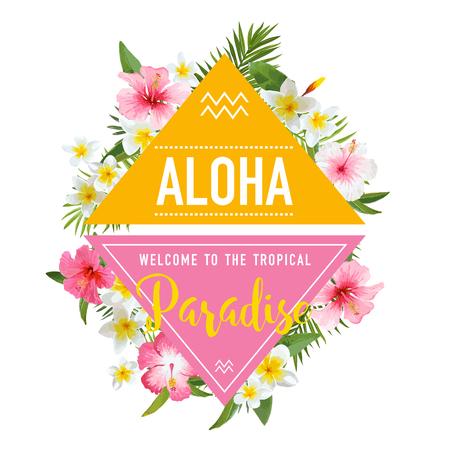 Tropische bloemen en bladeren achtergrond. Summer Design. Vector. T-shirt Fashion Graphic. Exotische Achtergrond.