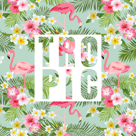 Flores e folhas tropicais. Fundo tropical Flamingo. Vetor Fundo. Fundo gráfico exótico. Bandeira tropical. Ilustração