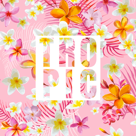 Tropical Flowers and Leaves. Vector Background. Exotic Graphic Background. Tropical Banner.