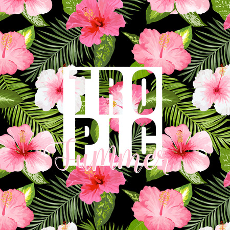 Tropical Palm. Tropical Flowers. Exotic floral background. Vector Background. Exotic Graphic Background. Tropical Banner.