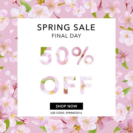 Bandera de la venta de primavera. Venta de fondo. Gran venta. Etiqueta de la venta de flores. Cartel de la venta. Ilustración del vector. 50% rebajado Ilustración de vector