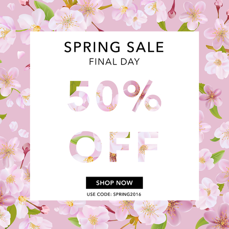 50 off: Spring Sale Banner. Sale background. Big sale. Floral Sale Tag. Sale poster. Vector Illustration. 50 % off