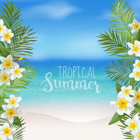 Tropische achtergrond. Palm bladeren. Uitzicht op zee achtergrond. Vector Achtergrond. Exotische grafische achtergrond. Beach Banner.
