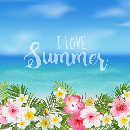 view on sea: Tropical Background. Palm Leaves. Sea View Background. Vector Background. Exotic Graphic Background. Beach Banner.