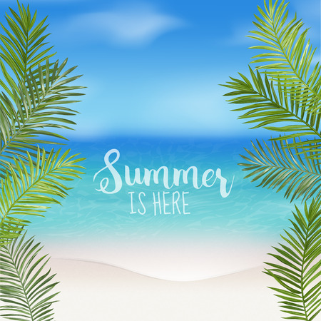 Tropical Background. Palm Leaves. Sea View Background. Vector Background. Exotic Graphic Background. Beach Banner.