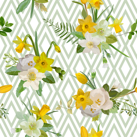 Seamless Pattern. Floral Background. Spring Flowers. Vector. Geometric Background. Vettoriali